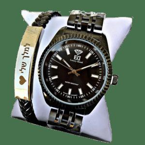 סט שעון וצמיד לגבר עם חריטה-7
