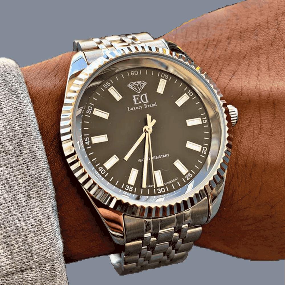 שעון יד לגבר כסף שחור אלפא ED