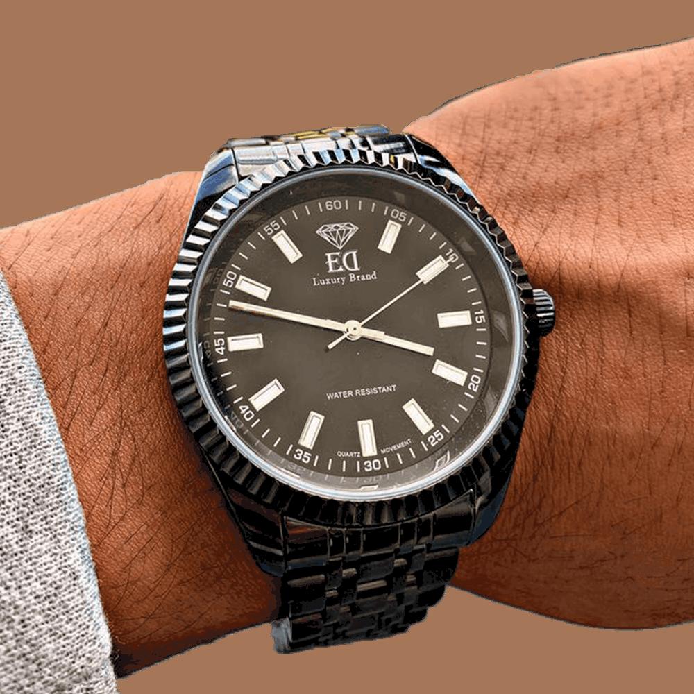שעון יד לגבר שחור אלפא ED