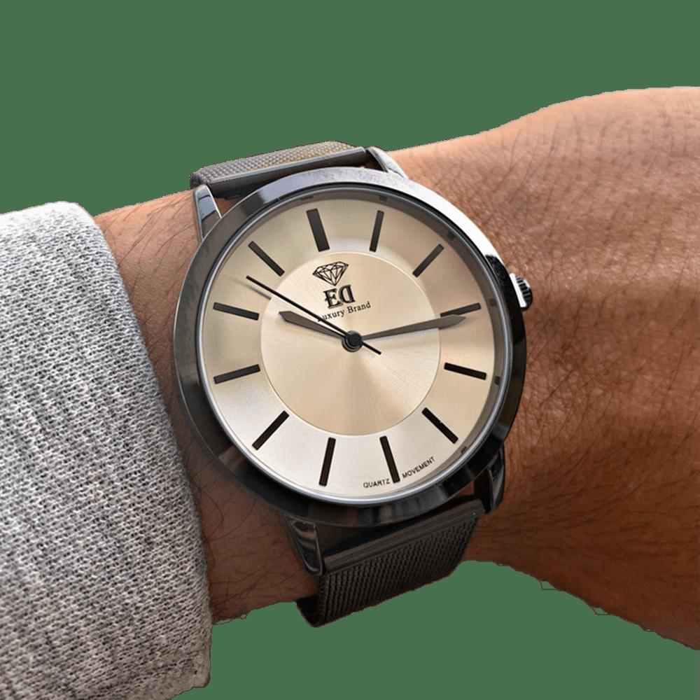 שעון יד לגבר שחור כסף ביתא ED