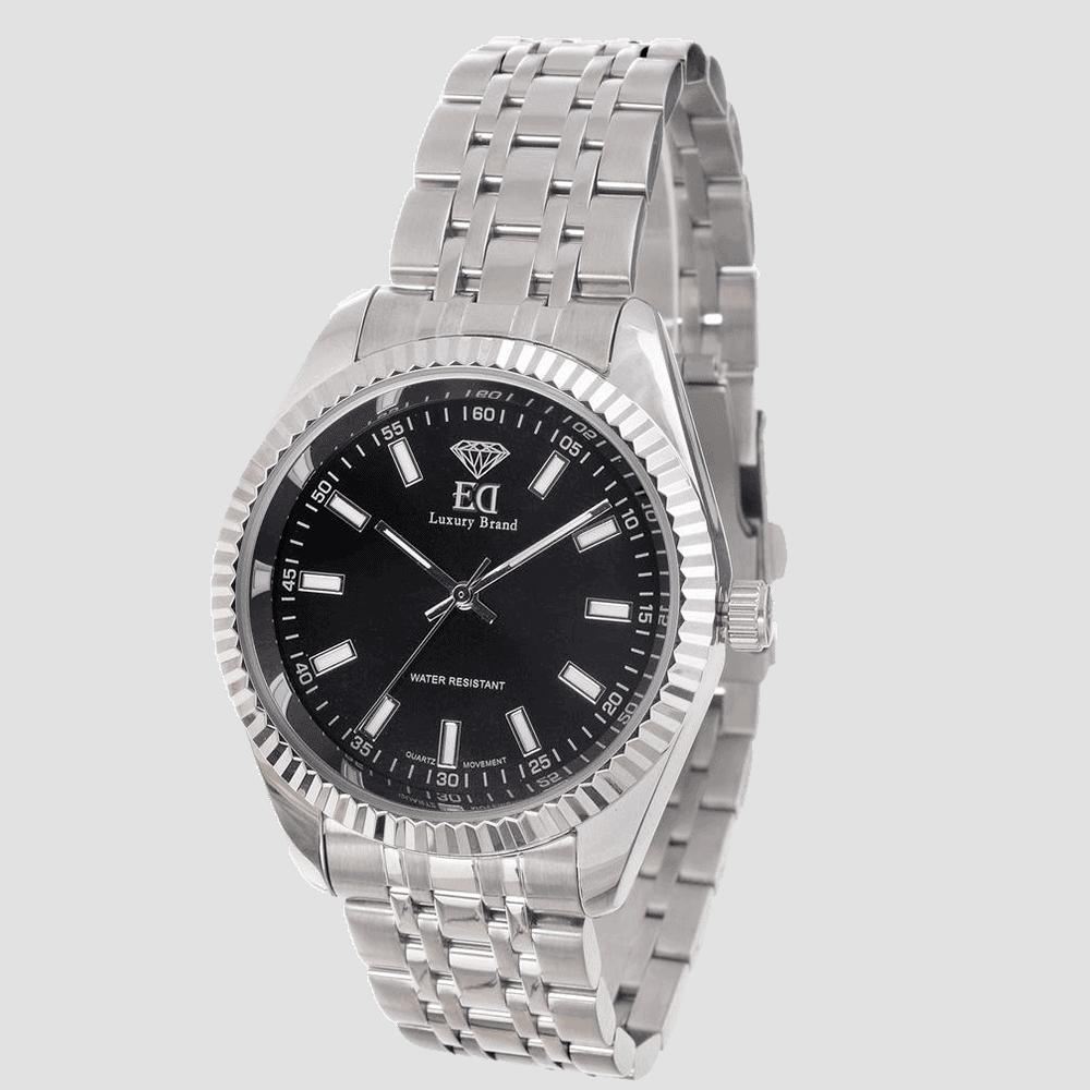 שעון כסוף שחור לאישה שעון כסוף שחור לגבר-1